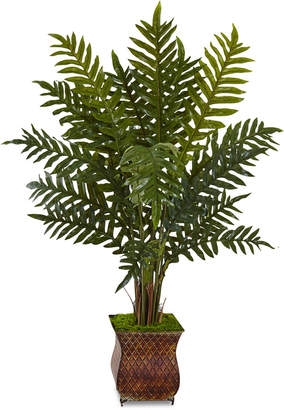 Nearly Natural 4' Evergreen Artificial Plant in Metal Planter