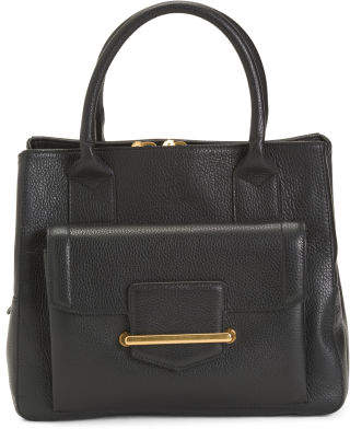 Made In Italy Flap Front Leather Satchel