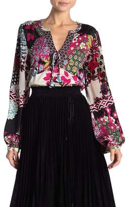 Hale Bob Patterned Blouson Sleeve Mixed Media Top