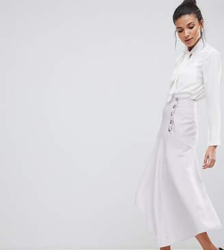 Asos Tall Asos Design Tall Hanky Hem Midi Skirt With Side Button Detail