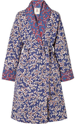 Figue Karina Reversible Quilted Floral-print Silk Crepe De Chine Coat - Blue