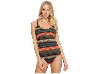 Jantzen Printed Shadow Stripe Racerback One-Piece Women's Swimsuits One Piece