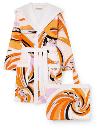 Emilio Pucci Hooded Printed Cotton-terry Robe - Orange