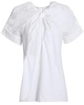 Oscar de la Renta Twist-Front Cotton-Blend Poplin Top
