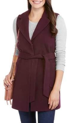 Maxwell Studio Women's Fashion Faux Wool Belted Sleeveless Coat--Wear As A Vest Or Jacket