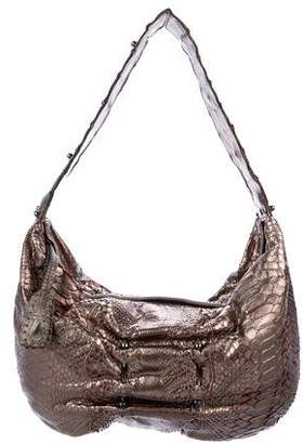 Carlos Falchi Metallic Snakeskin Shoulder Bag