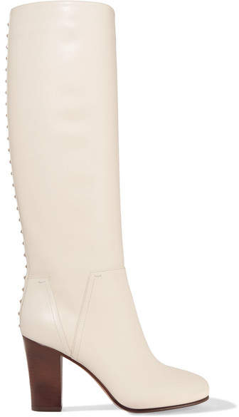 Valentino - Lovestud Leather Knee Boots - Cream