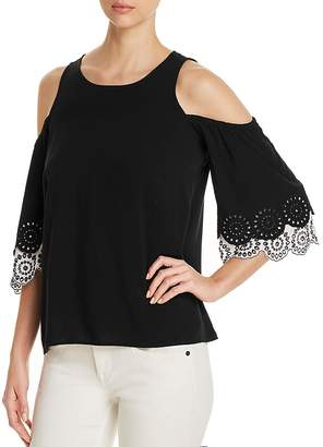 Design History Tiered Eyelet-Sleeve Top