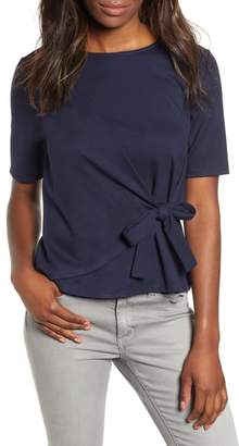 Gibson Tie Front Ponte Knit Tee