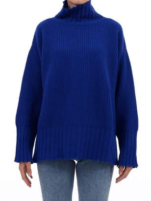 MSGM Blue Distressed Oversized Sweater