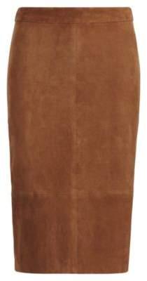 Ralph Lauren Suede Pencil Skirt Saxony Brown 2
