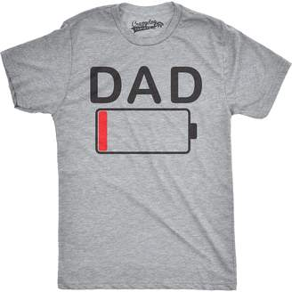Crazy Dog T-shirts Crazy Dog Tshirts Mens Dad Battery Low Funny Empty Tired Father Parenting Guys T shirt