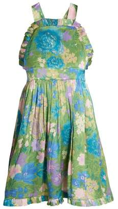 Balenciaga Baby Doll Frill Dress - Womens - Green Print