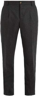 DE BONNE FACTURE Pleated-front tapered-leg wool trousers
