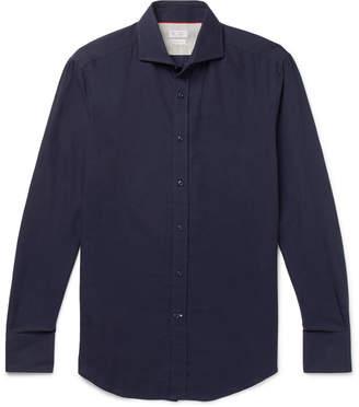 Brunello Cucinelli Slim-Fit Cutaway-Collar Cotton-Twill Shirt