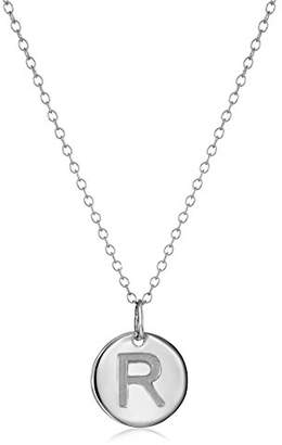 """Sterling Round Disc Initial""""S"""" Pendant Necklace"""