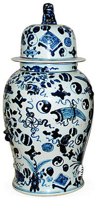 "One Kings Lane 25"" Covered Temple Jar - Blue/White"