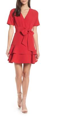 Charles Henry Ruffle Tiered Wrap Dress