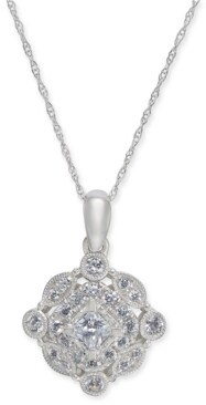 "Macy's Diamond Vintage-Inspired Halo 18"" Pendant Necklace (1/2 ct. t.w.) in 14k White Gold"