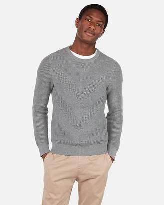Express Chevron Stitch Crew Neck Sweater