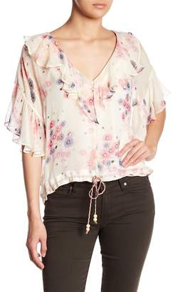 Love Sam Ruffle Floral Print Blouse
