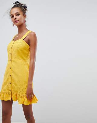 Asos DESIGN denim yellow cutwork mini dress