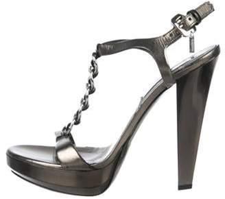 Burberry Metallic Leather Platform Sandals Metallic Metallic Leather Platform Sandals