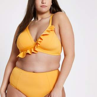 River Island Womens Plus orange frill bikini top