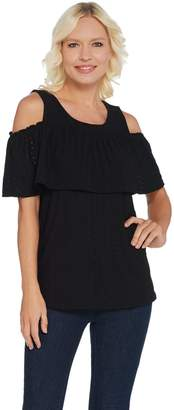 Susan Graver Knit Eyelet Cold-Shoulder Top