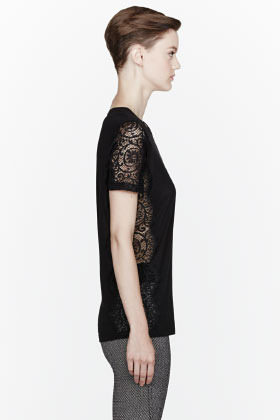 Stella McCartney Black Lace Insert T-Shirt