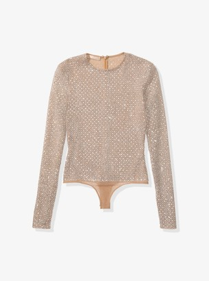 Michael Kors Embroidered Stretch-Tulle Bodysuit