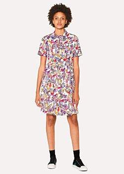 Women's White 'Karami Collage' Print Shirt Dress