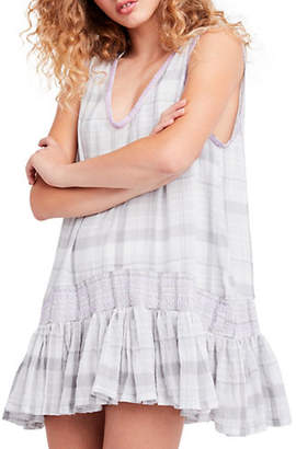 Free People Run with Me Plaid Cotton Mini Dress