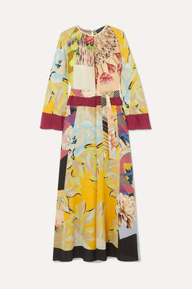 Etro Printed Silk Crepe De Chine Maxi Dress - Yellow