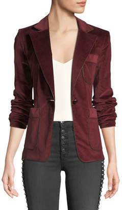 Veronica Beard Rosalie One-Button Corduroy Blazer