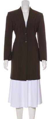 Max Mara Pinstripe Wool Coat Brown Pinstripe Wool Coat
