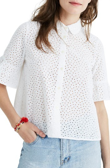 Women's Madewell Eyelet Bell Sleeve Shirt