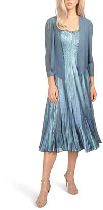 Komarov Embellished Pleat Mixed Media Dress with Jacket