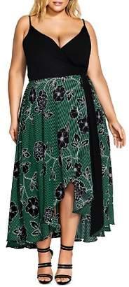 City Chic Plus Varsity Stripe Floral Maxi Dress