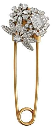 Burberry Crystal and Brass Oversized Pin