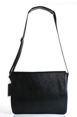 Robert Graham Black Leather Magent Closure 5 Pocket Messenger Bag Size Large $248 thestylecure.com