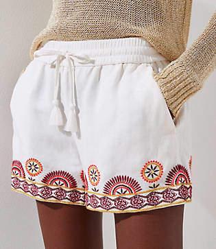 LOFT Sunset Floral Drawstring Shorts