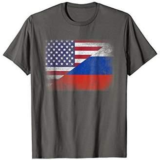 Russian American Flag T-shirt Russia Usa