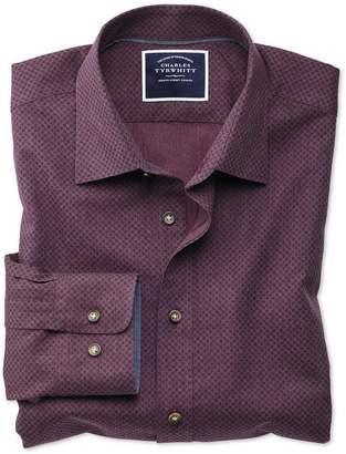 Charles Tyrwhitt Classic Fit Burgundy Spot Print Cotton Casual Shirt Single Cuff Size Medium