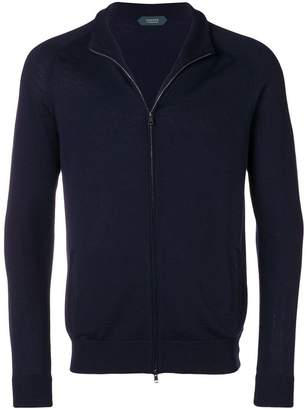 Zanone virgin wool zip front cardigan