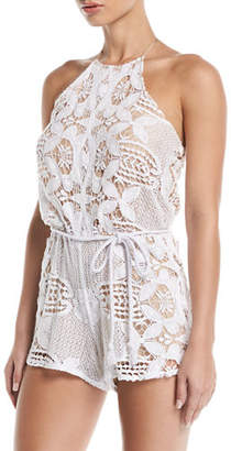 Miguelina Harriet Lace Rope-Belt Romper