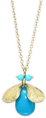 Annette Ferdinandsen Fauna Jeweled Bug Natural Turquoise & 14K Yellow Gold Necklace