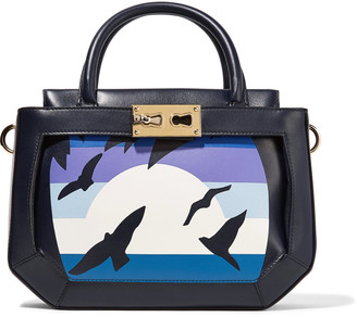 Tina Craig for Gianfranco Lotti Saddle small printed paneled leather tote bag