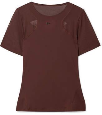 Nike Pro Hypercool Cutout Mesh-paneled Stretch-jersey T-shirt - Burgundy