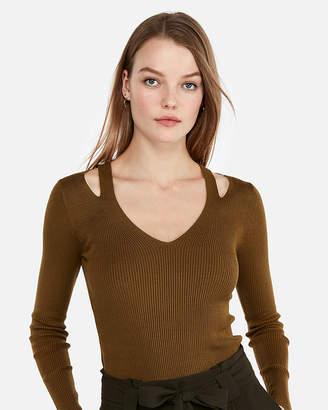 Express Ribbed Slash Fitted V-Neck Sweater